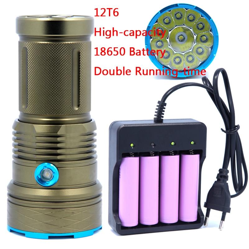 25000LM Super Power light 12T6 destello de luz LED 12 * XML T6 LED linterna antorcha luz para Camping uso baterías de alta capacidad