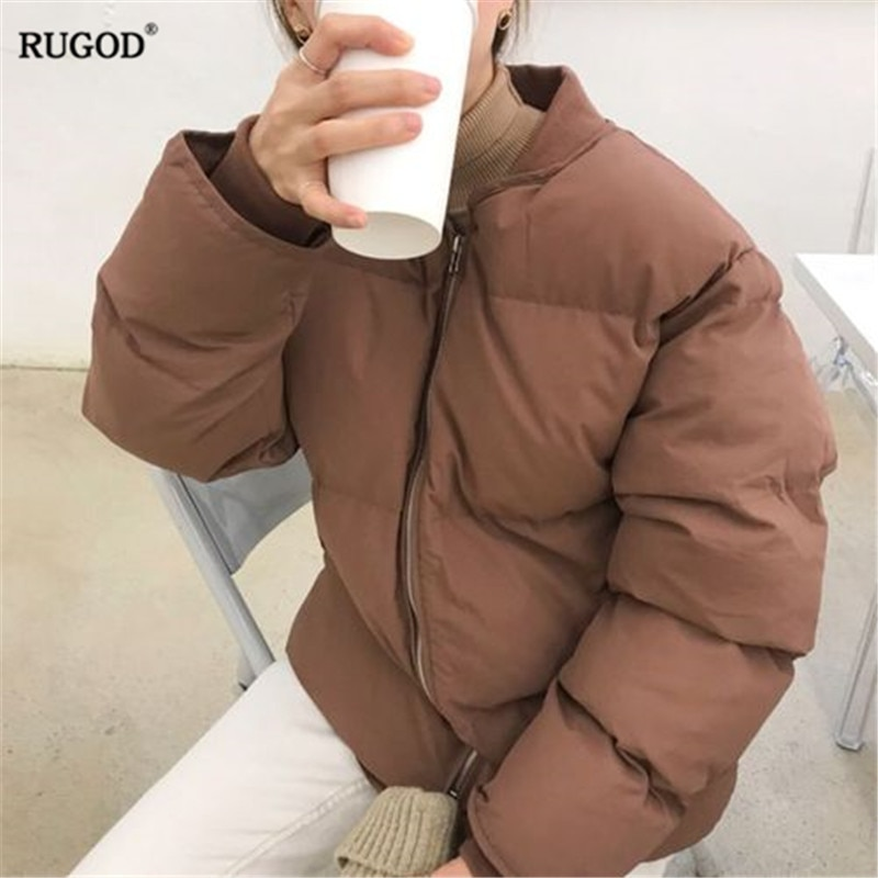 RUGOD-chaqueta informal lisa para mujer, abrigo grueso de algodón a la moda,...