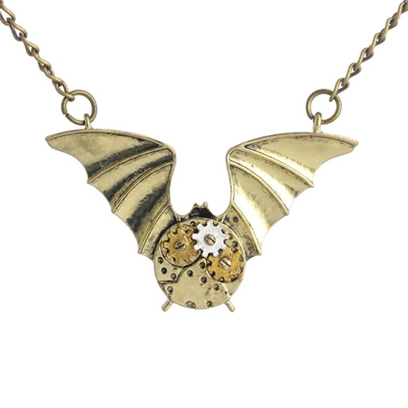 DoreenBeads, collar de moda Steampunk, cadena de enlace de bronce, Color plateado, engranaje de cobre, colgante de murciélago, serie punk de moda, 1 pieza