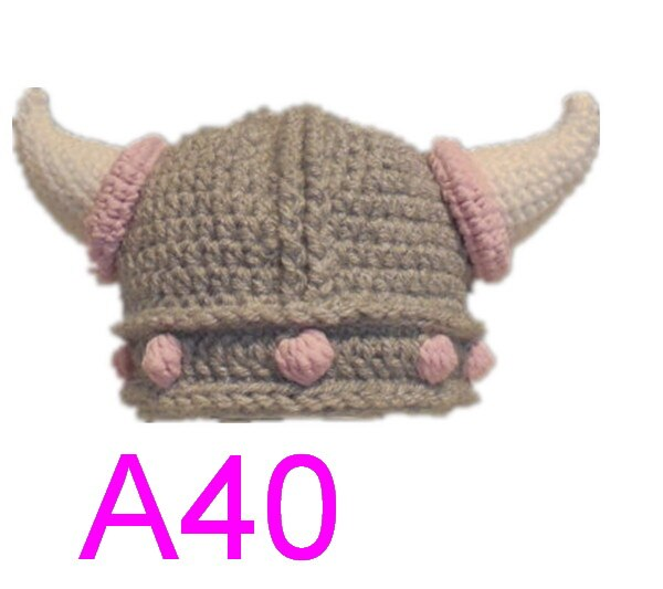 30 piunids/lote sombrero de casco de ganchillo de vikingo con barba/casco de Vikingo, sombrero de enano, sombrero vikingo con cuernos, sombrero de bebé piratas