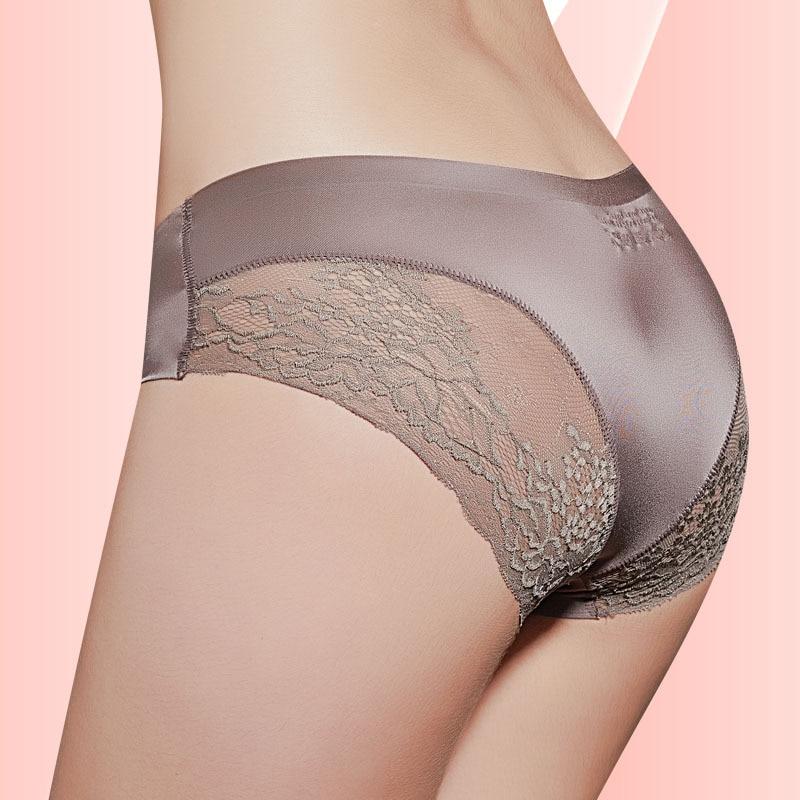 Bragas sexys de encaje para mujer, ropa interior sin costuras, bragas de seda de nailon para niñas y señoras, Bikini de algodón entrepie