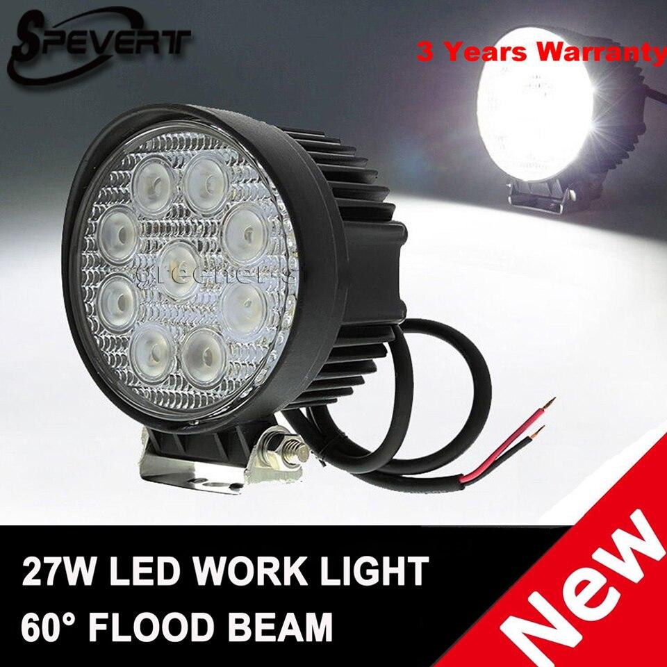 SPEVERT 27W Flood Beam Offroad Fanale Luci Diurne A Led Work Light Faro Da Lavoro 12/24V Driving Fog Car for Indicators Driving