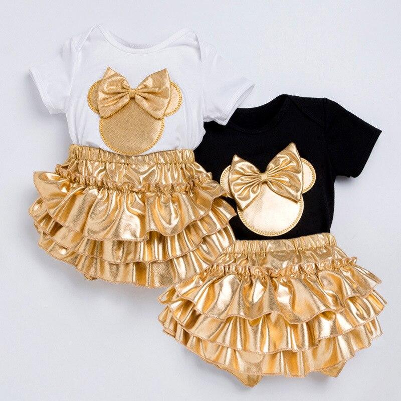 2018 roupas da menina do bebê 3 pçs conjuntos de roupas preto ou branco algodão macacão plissado dourado bloomers shorts bandana roupas recém-nascidas