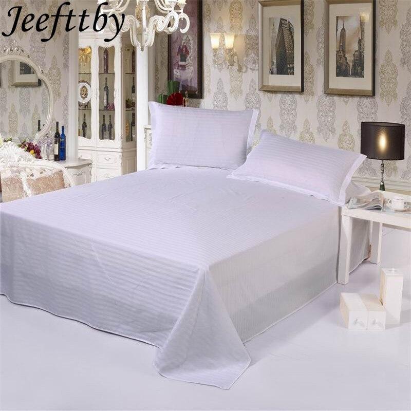 Ropa de cama de algodón satinado Jeefttby de lujo para Hotel 100% 1 Uds., sábanas planas blancas de lujo, sábanas de algodón tamaño King Size