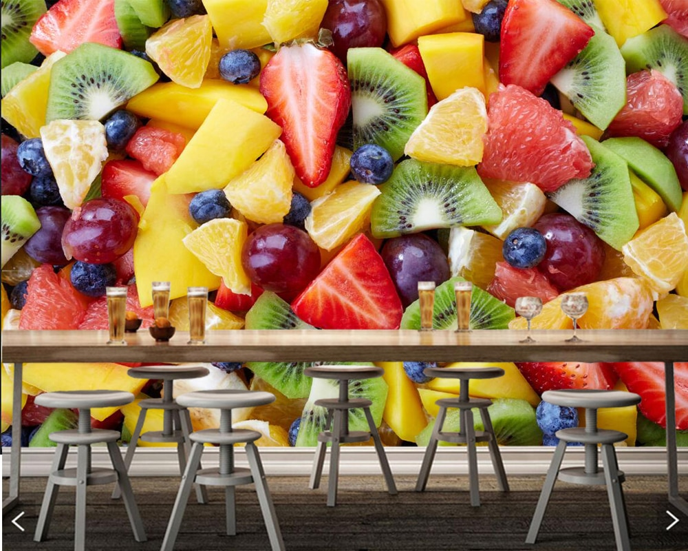Papel de pared de frutas ensaladas Berry muchos Kiwi foto Papel pintado, sala cocina restaurante comida rápida cafetería para comprar mural