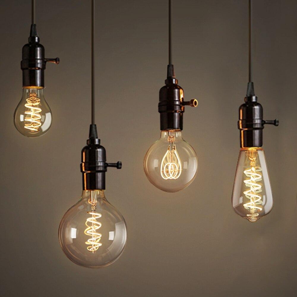 Bombillas incandescentes LED E27, 3W, 220V, regulable, Vintage, antigua, Edison, A60, ST64,...