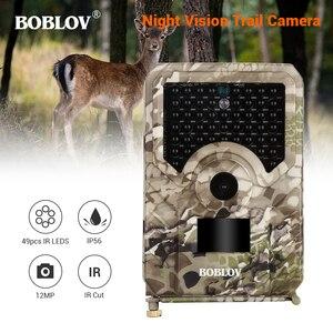 BOBLOV Photo Traps PR200 12MP 49PCS IR Leds Trail Hunting Camera Waterproof Outdoor Video Surveillance Wildlife Cameras w/belt