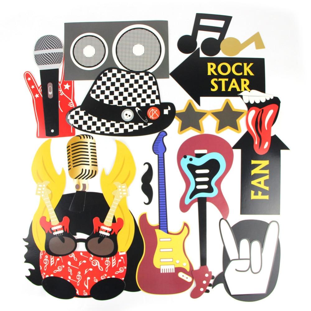 Набор из 18 реквизитов для рок-фотосессии, Звездные Декорации для вечеринок, концертные реквизиты для рок-н-ролла, музыкальные прикольные принадлежности для фотосъемки