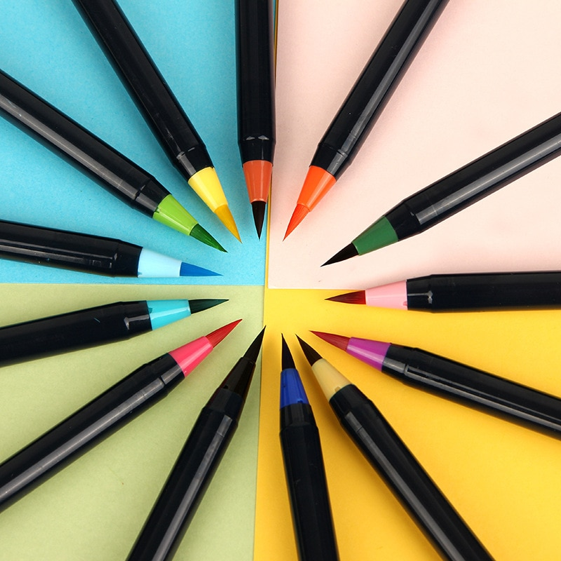 20 unids/set colorido cepillo pluma pincel de conjunto de color suave punta llenar cepillo pluma pincel de pintura dibujo Manga estudiante de arte suministros