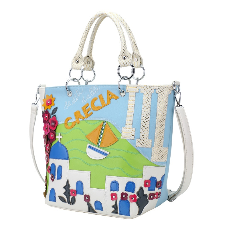 womens-flower-handbag-color-painting-bag-solid-bucket-shoulder-bag-blue-leather-ladies-fashion-bags-new-new-style