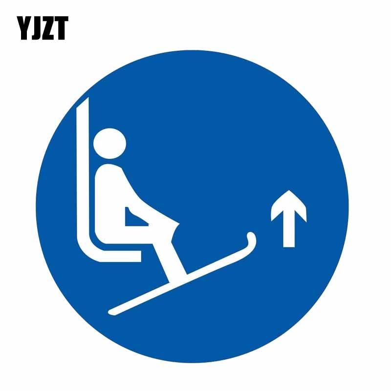 YJZT 12CM * 12CM advertencia internacional levantar puntas de esquí símbolo pegatina PVC para coche etiqueta 12-0802
