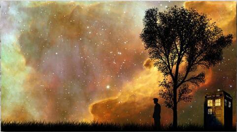 Póster de seda gigante Dr Who Space Tardis pintura de pared 24x36inch