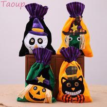 Taoup-sacs portables dhalloween motif crâne fantôme   Chat noir lin, décor de fête Halloween 2018, accessoires cadeaux, accessoires réception-cadeaux pour bébé