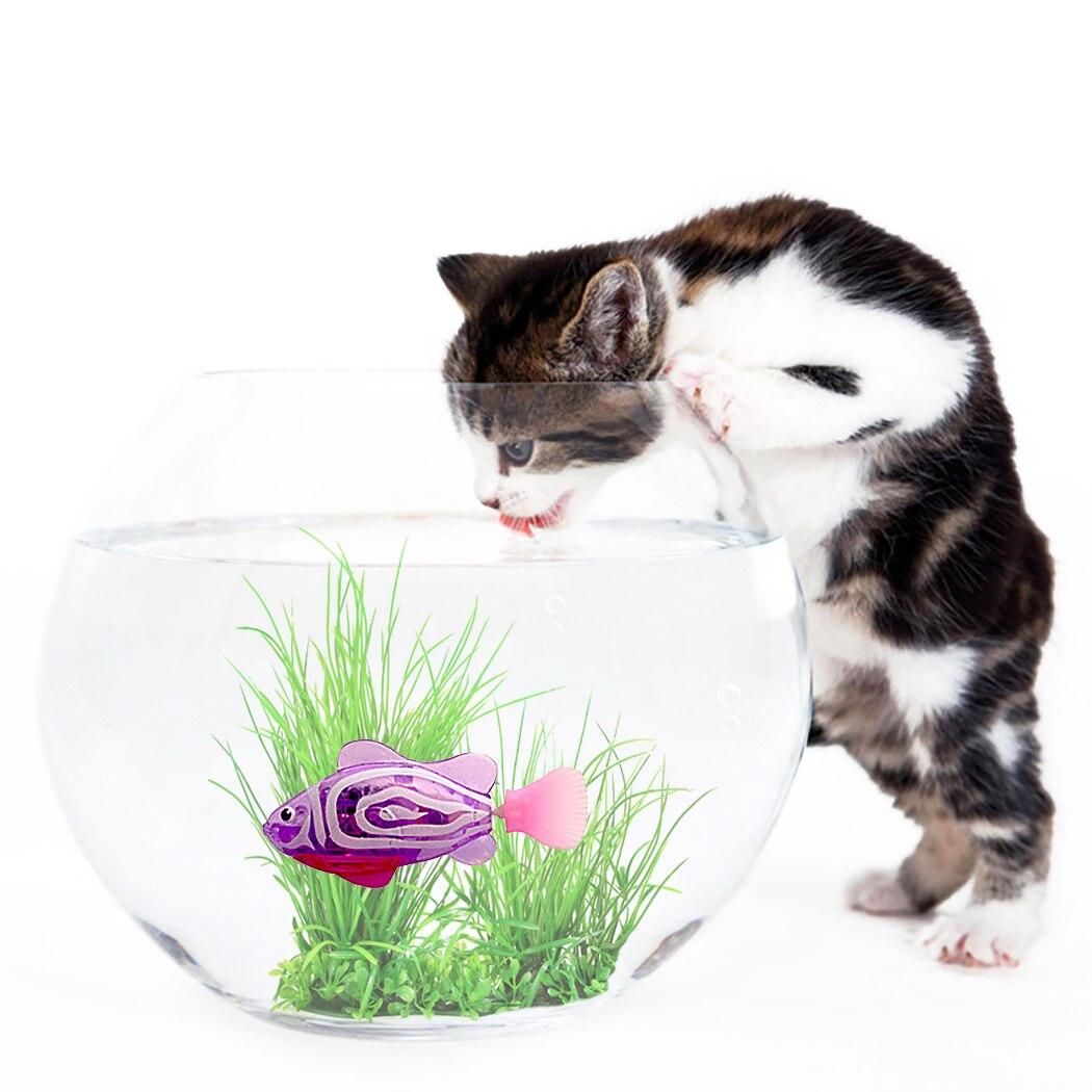 Juguete de gato de pez alimentado por batería, juguete LED para nadar con agua activada, juguetes de gato de juguete para peces con maleza acuática y destornillador para gatos