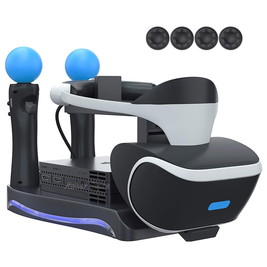 PS4 PSVR Mover Controlador do Carregador de Suporte De Armazenamento Vitrine de Exibição Indicador LED para Play Station PS PS 4 VR Headset Processador
