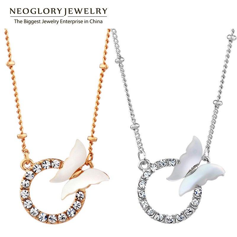 Neoglory escudo círculo strass borboleta colares & pingentes jóias traje nupcial birthstone charme marca garoto meninas 2020 novo