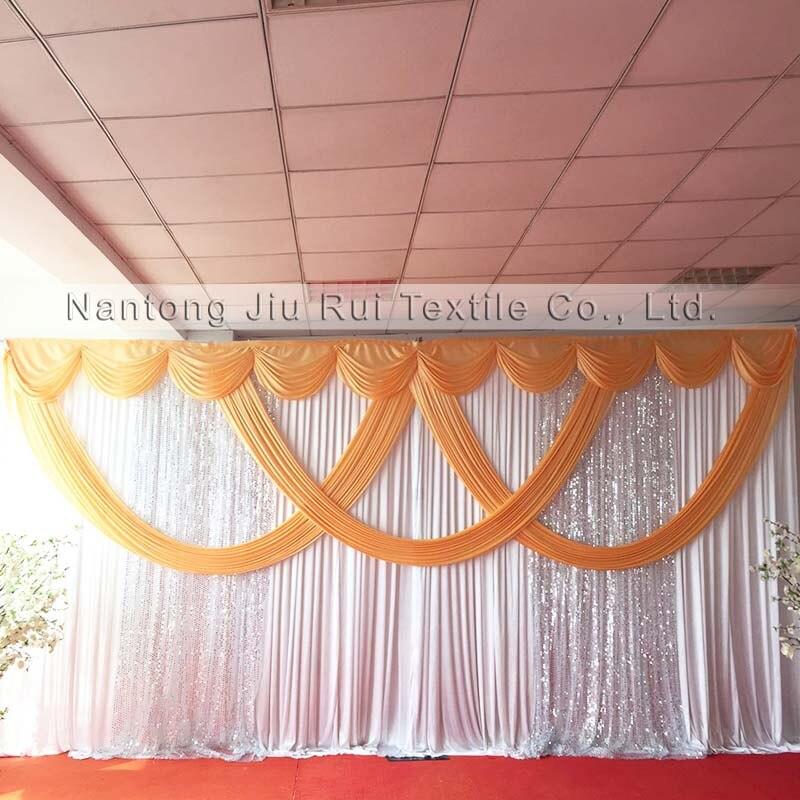 3 м Hx 6 мВт новый дизайн распродажа Белый занавес со светло-золотым Swag Серебряный блесток драпировка свадебный фон