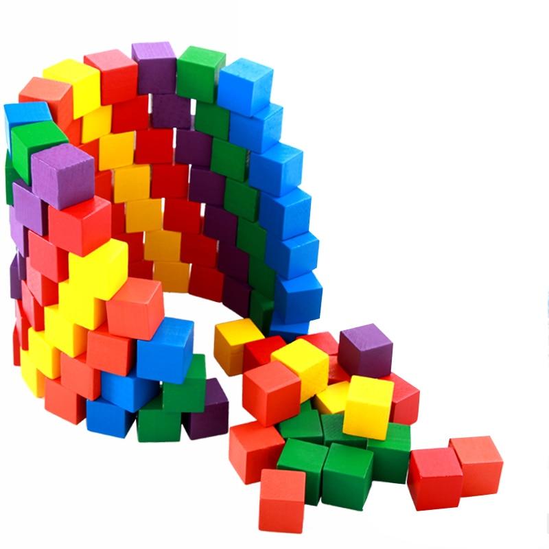 Kids Toy Montessori Wooden Building Blocks Childrens Intellectual Development Waldorf Colorful Wood Wooden Montessori Toys