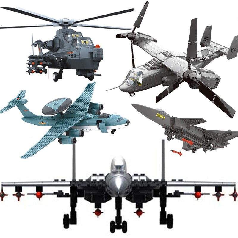 Moderne Krieg militär Kämpfer MOC flugzeug gunship kämpfer sets modell bausteine jets kinder kinder spielzeug ziegel technik