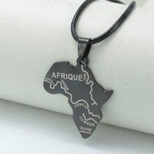 Balck Cordes Afrique Cartes Pendentif Colliers Nigeria Afrique Du Sud Soudan Éthiopien AFRIQUE Africain Cartes Bijoux # J0573