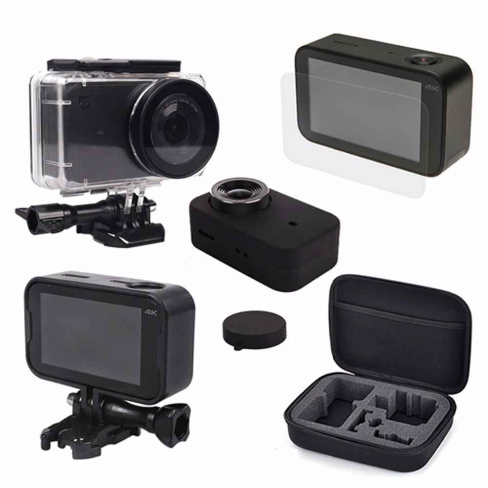 Para xiaomi Mijia 4K accesorios de cámara impermeable funda carcasa + bolsa de almacenamiento carcasa funda de piel cubierta lente tapa película protectora