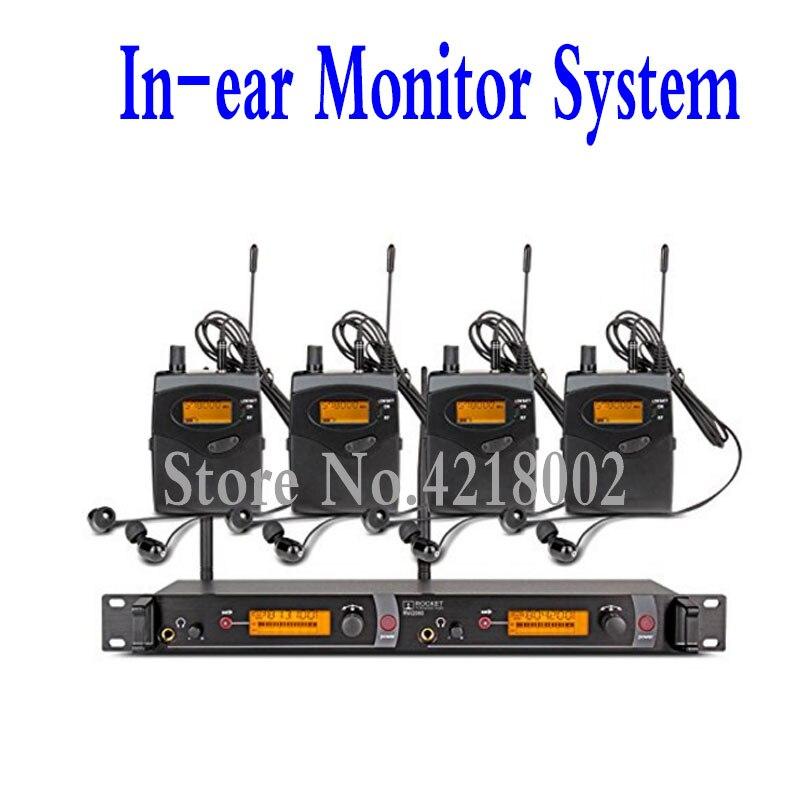 المهنية الصوت في الأذن نظام مراقبة 2 قناة 4 Bodypack استقبال مراقبة مع في سماعة لاسلكية SR2050 نوع