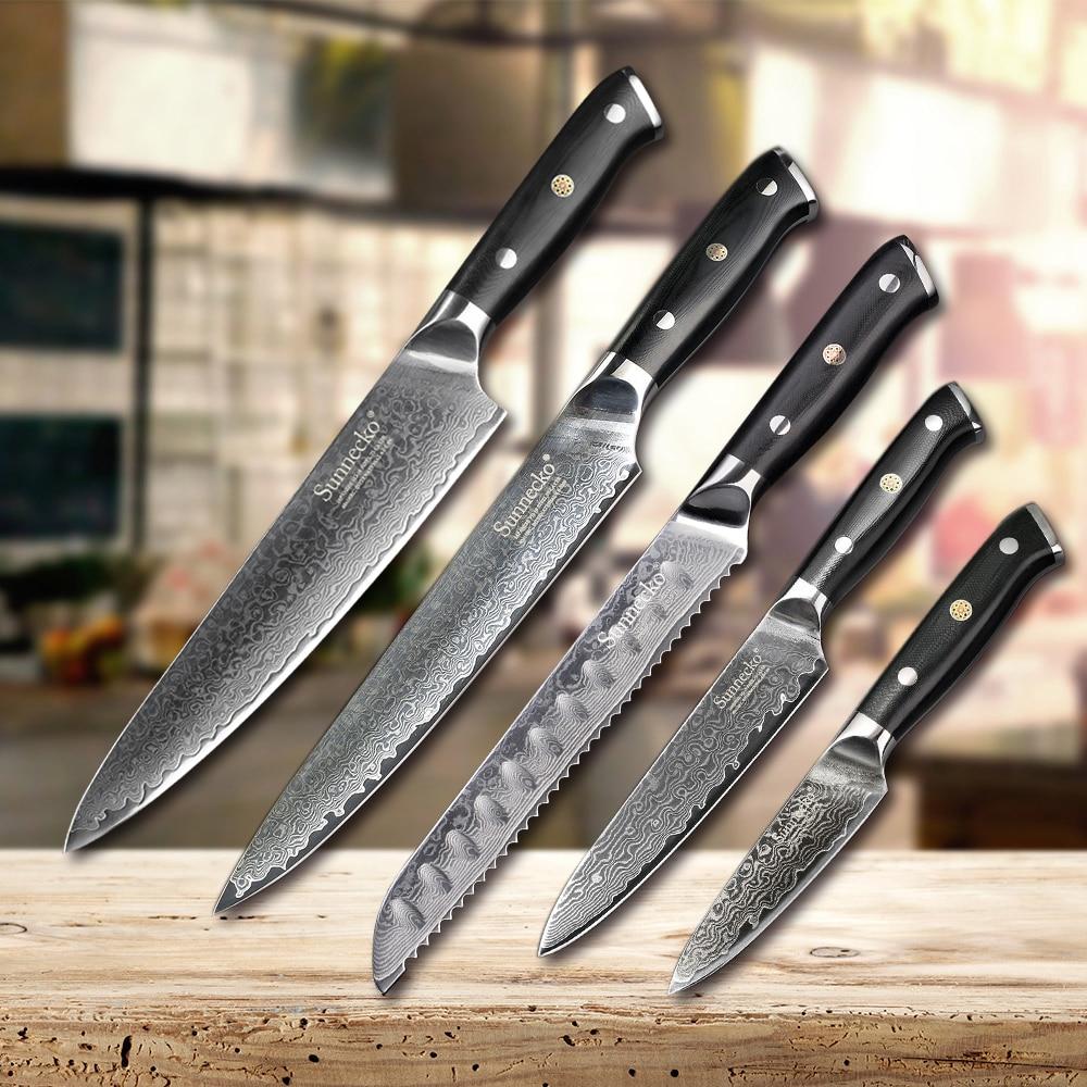 Sunnecko 1 - 5 قطعة سكين مجموعة اليابانية VG10 بليد الشيف القطاعة الخبز فائدة التقشير دمشق الصلب سكاكين المطبخ هدية G10 مقبض