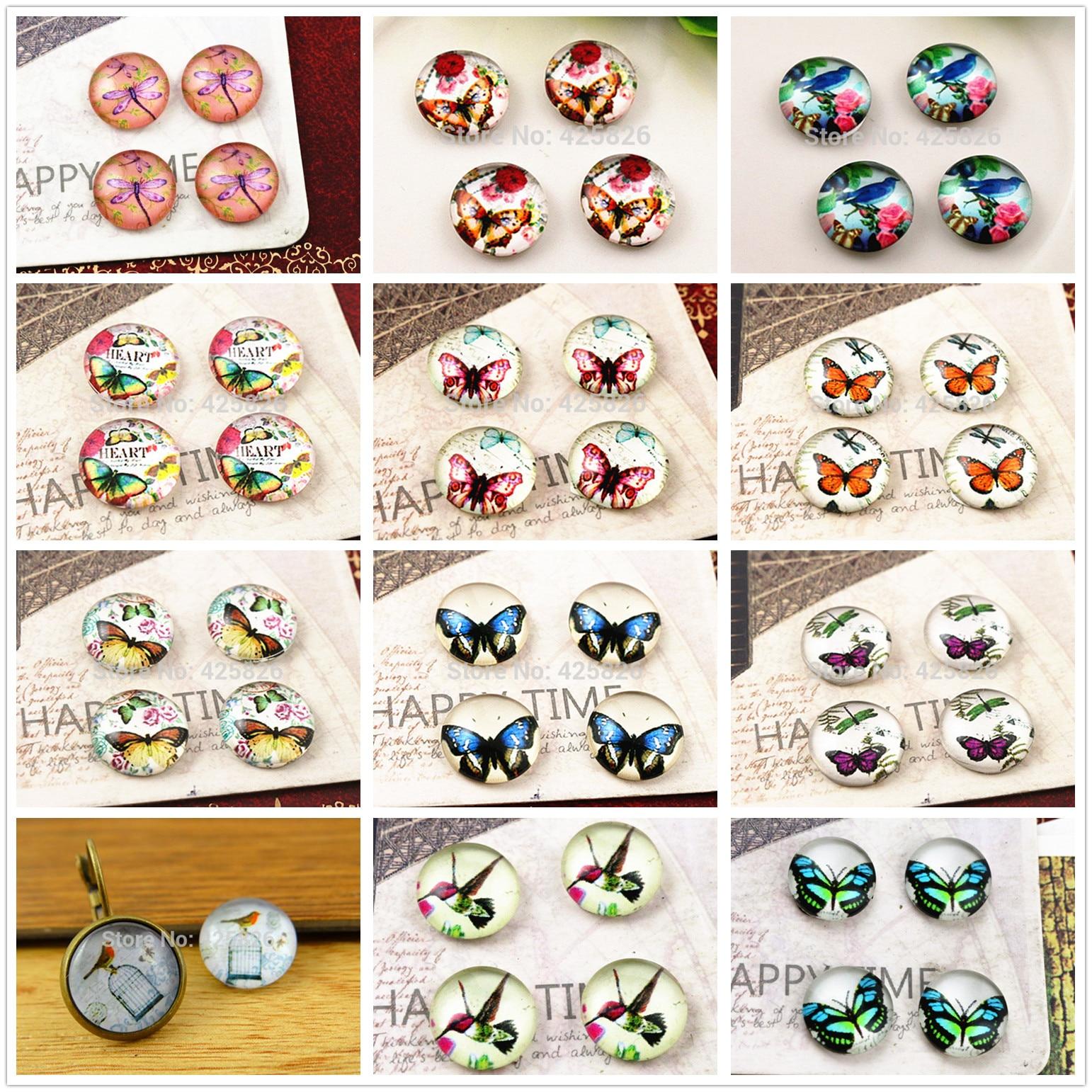 Gran oferta 20 piezas 12mm hecho a mano de cabujón de cristal con foto (de la mariposa y el pájaro serie de búhos)