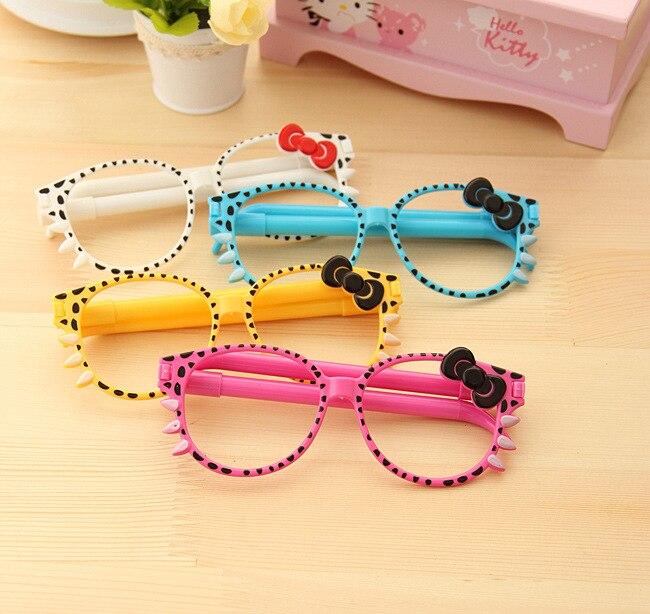 50 set/lote 0,5mm novedad lindo KT Bowtie gafas divertidas bolígrafo escritura bolígrafos cara decoraciones para los niños Favor