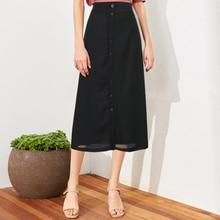New Women Solid Midi Skirt Elastic High Waist A-Line Button Chiffon Long Wild Skirts Plus Size 5XL Lady Bottom Faldas Saia Black