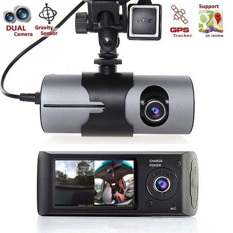 Автомобильный видеорегистратор R300 с двойной камерой, GPS и 3D g-датчиком, 2,7