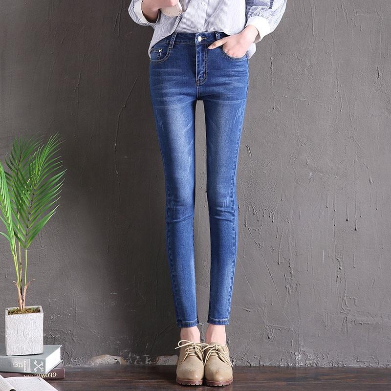 Hodisytian primavera moda mujer Jeans Skinny cintura alta Denim Pantalones lavados Capris lápiz pantalones elásticos Pantalon Femme