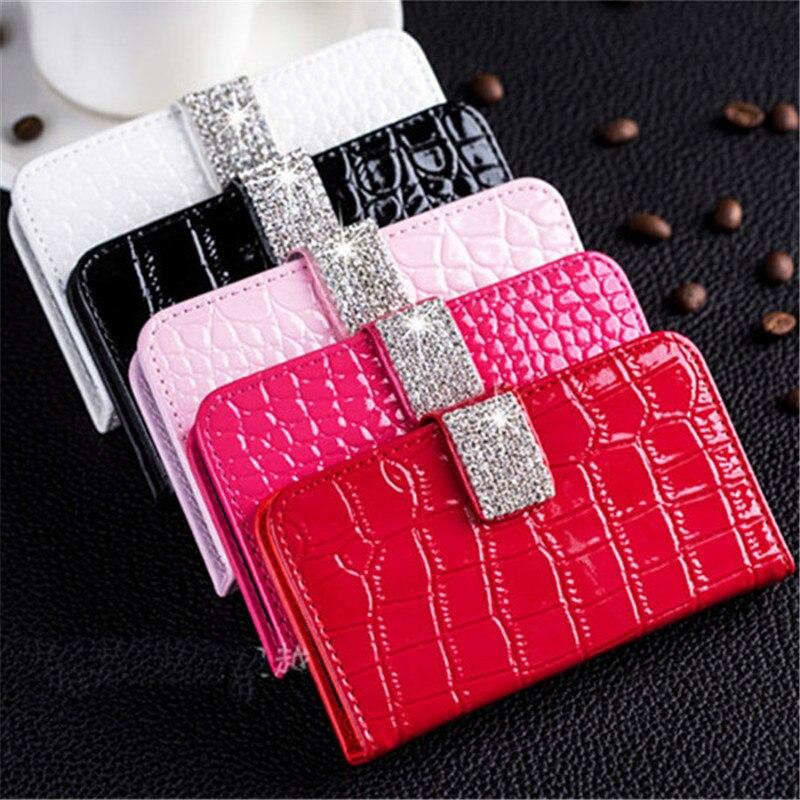 Moda bling diamante fivela magnética carteira flip slot para cartão de couro de crocodilo caso capa para iphone xs max xr x 8 7 6 s plus