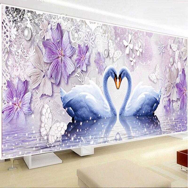 DIY diamante 5D amor eterno diamante pintura Cisne diamante redondo mosaico decoración del hogar diamantes bordado boda
