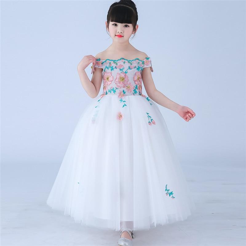 2018Summer New Kids Baby Elegant White/Red Color Birthday Wedding Party Princess Long Dress Children Girls Sleeveless Prom Dress
