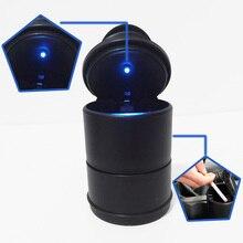 Poubelle de voiture Portable   En forme de cendrier, pour voitures noires, poubelle haute flamme, lumière automatique, Mini poubelle avec lumière