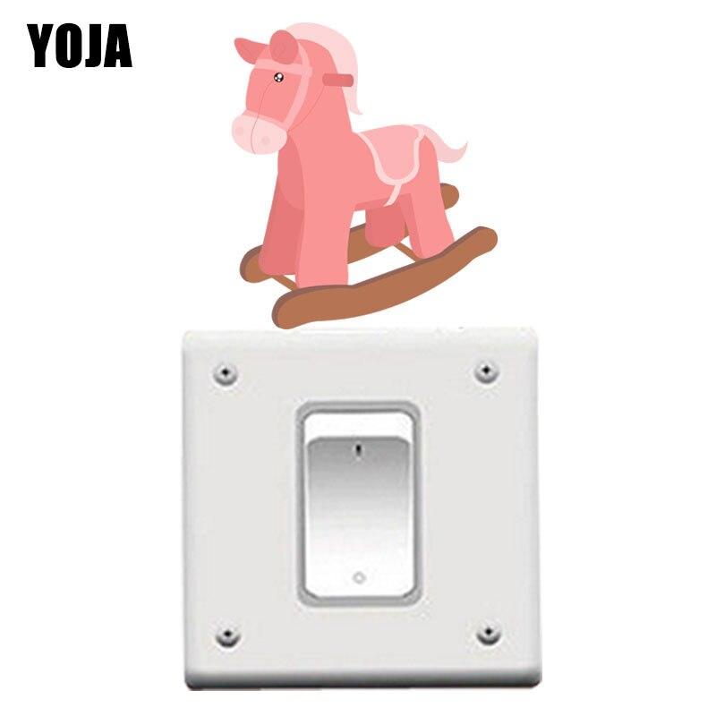 YOJA rosada Trojan caballo mecedora niños habitación dormitorio hogar Decoración PVC pared calcomanía 8SS0898