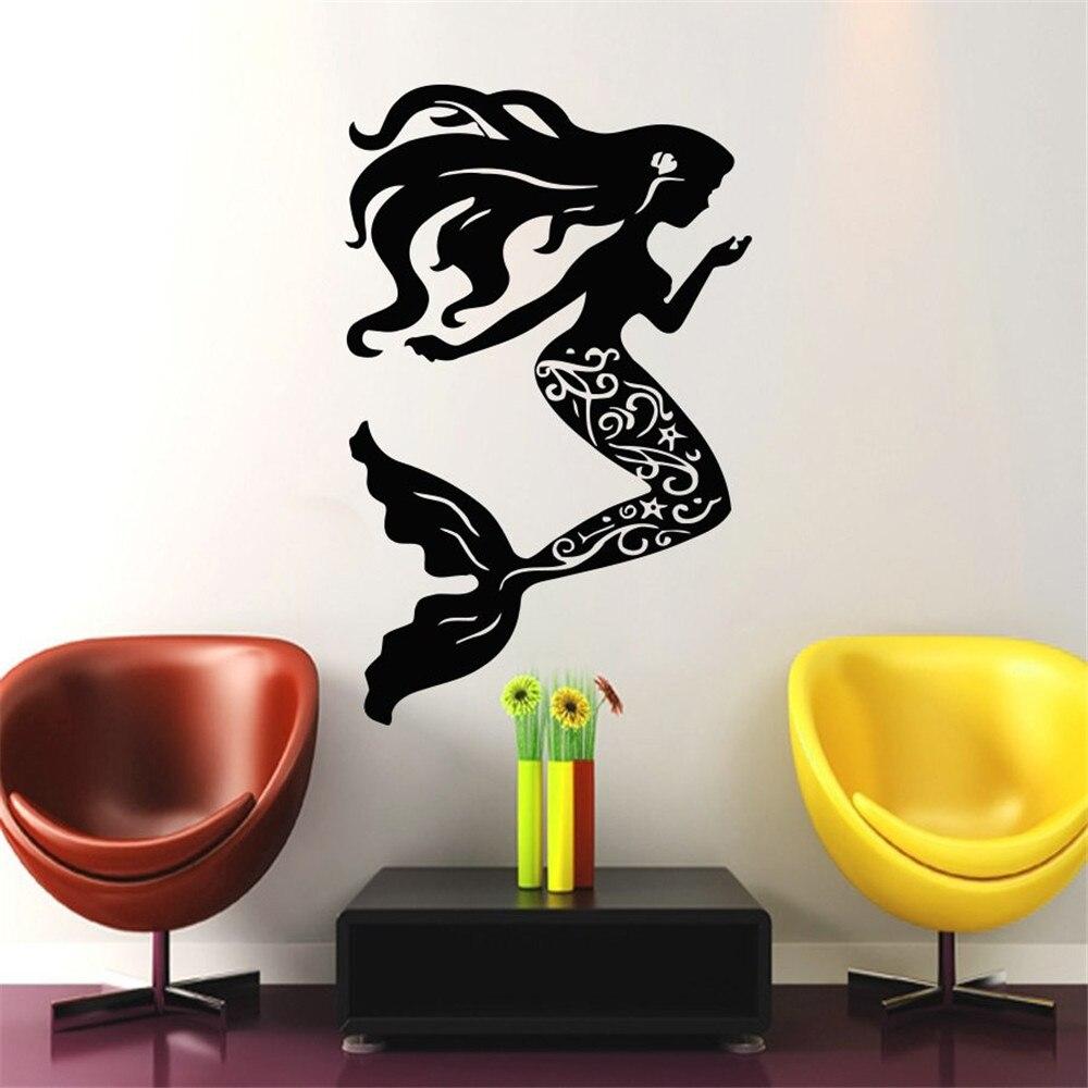Nautical del mar conchas pegatina de Series para pared casa decoración Sala sirena bonita con el pelo largo arte Etiqueta de pared silueta
