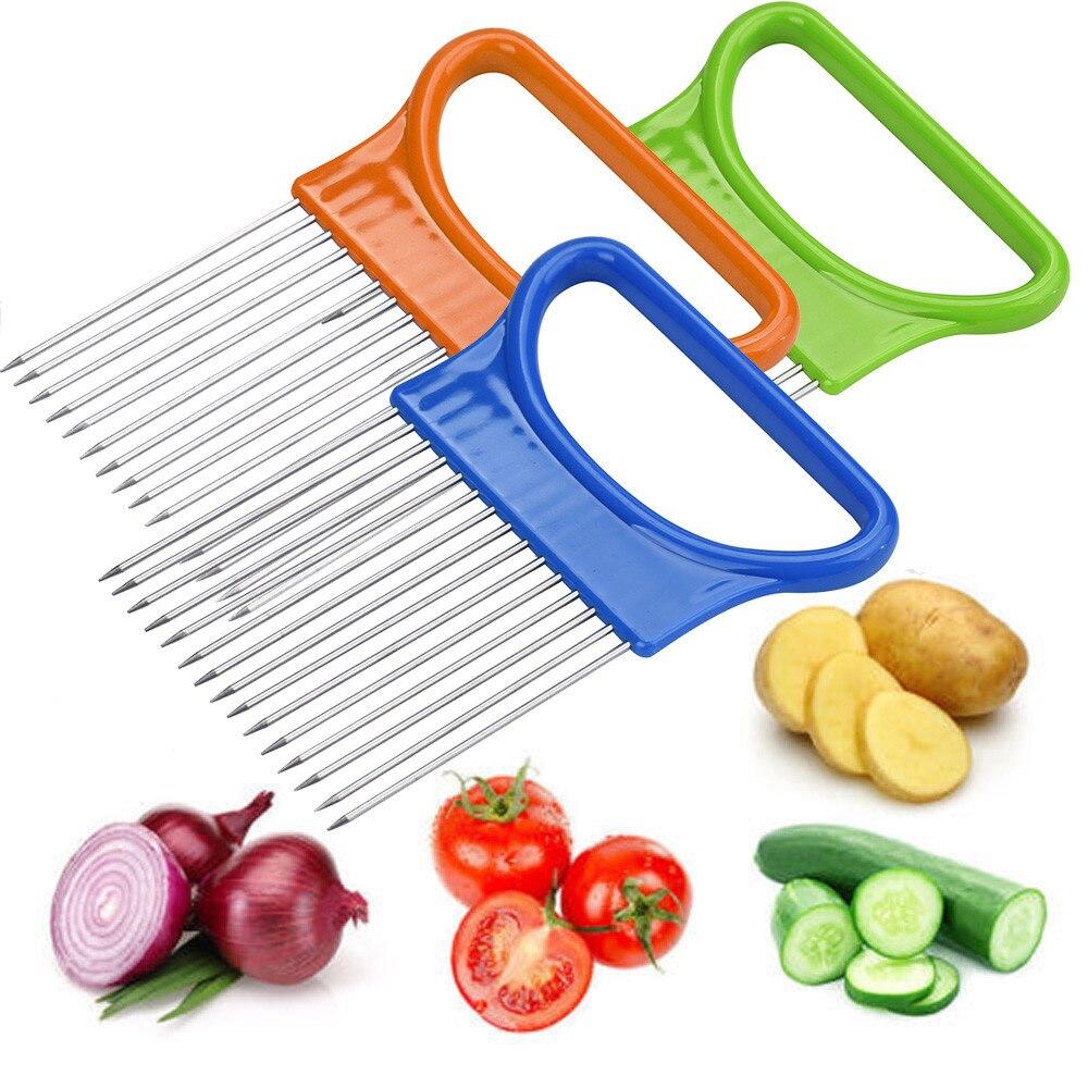 Cocina tomate cebolla cortadora de vegetales ayuda de corte Soporte Guía cortador rebanador tenedor seguro accesorios para el hogar