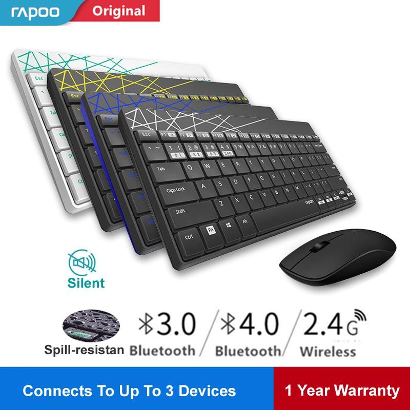 Rapoo 8000M متعدد وضع صامت لاسلكي لوحة مفاتيح وماوس التبديل بين بلوتوث و 2.4G ربط 3 أجهزة للكمبيوتر/الهاتف