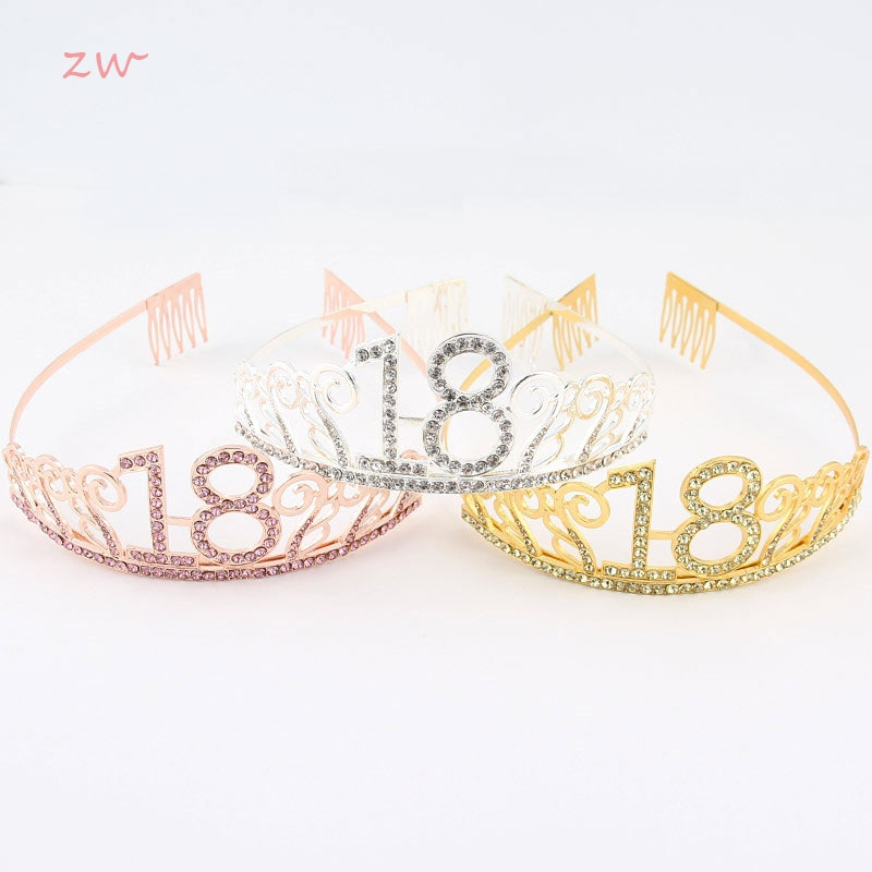 Birthday Crown Digital Hat Hair Accessories Bride Banquet Headband Birthday Tiara Crystal Headwear Birthday Crown 3C0045