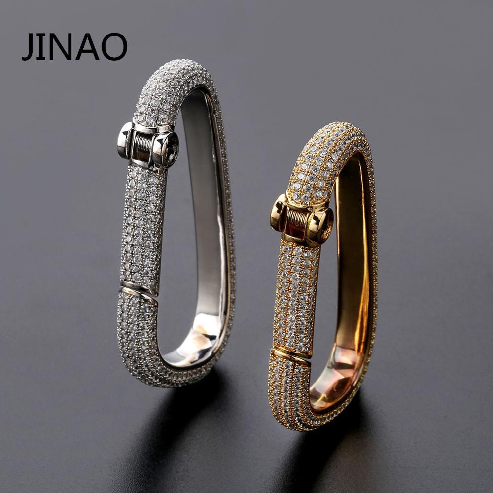 JINAO-حلقة مفاتيح هيب هوب للرجال ، سلسلة مفاتيح ذهبية اللون مع سحر نحاسي صلب مع AAACZ