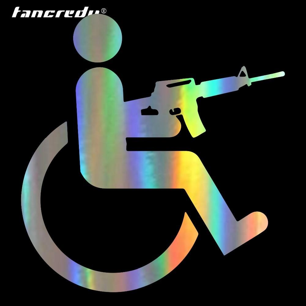 Tancredy 15*16cm discapacitados silla de ruedas arma pegatinas de vinilo de coche-estilo de calcomanías para automóviles productos accesorios para pegatinas de coche