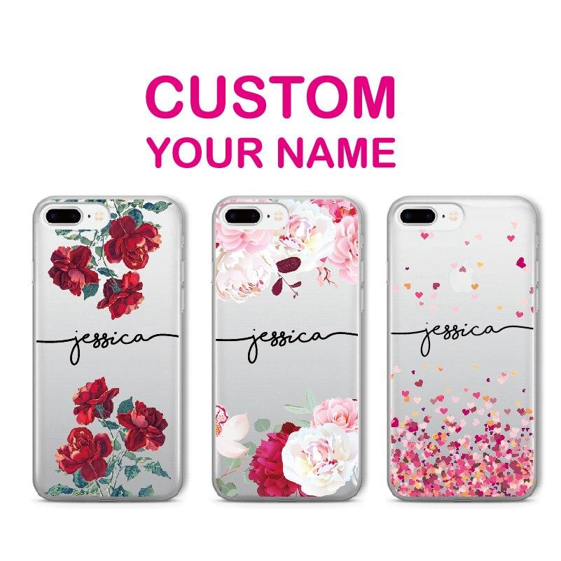 Персонализированные Для iPhone XR 6S XS Max 7 7Plus 8 8Plus 5X11 Pro Max мягкий прозрачный чехол для телефона индивидуальное имя текст цветочный