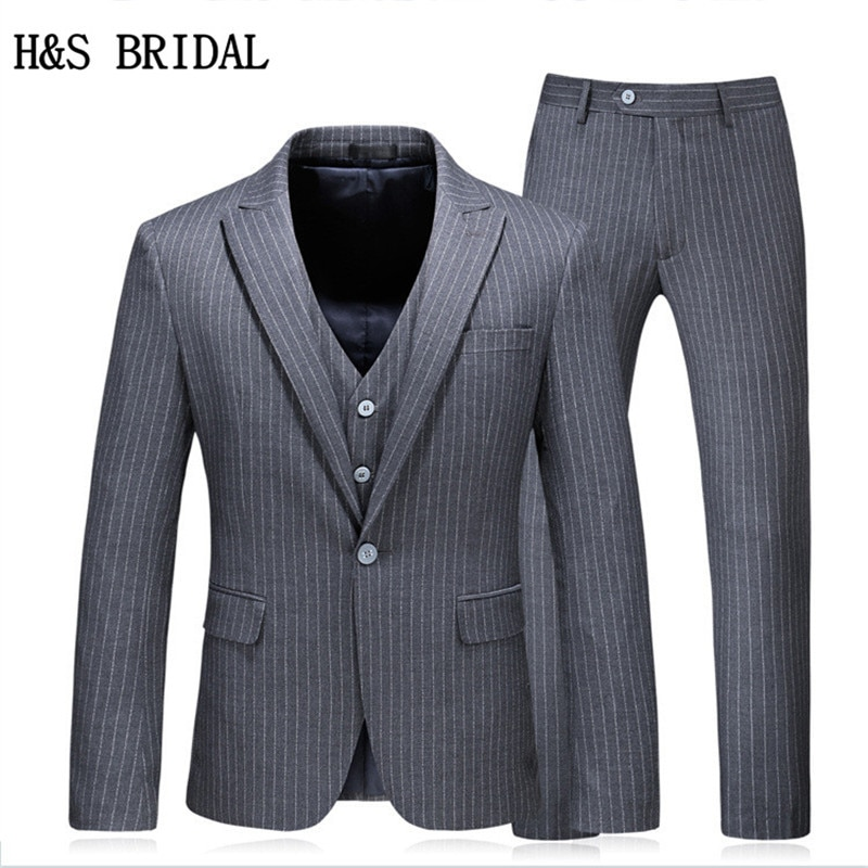 H & S الزفاف العريس ارتداء الذكور بدلة الزفاف صالح سليم الرجال الرسمي ارتداء الدعاوى 3 قطعة مجموعة (سترة + بنطلون + سترة) 5XL