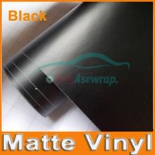 Etiqueta do veículo do filme do envoltório do carro da folha preta mate do cetim livre da bolha de ar com tamanho diferente/rolo