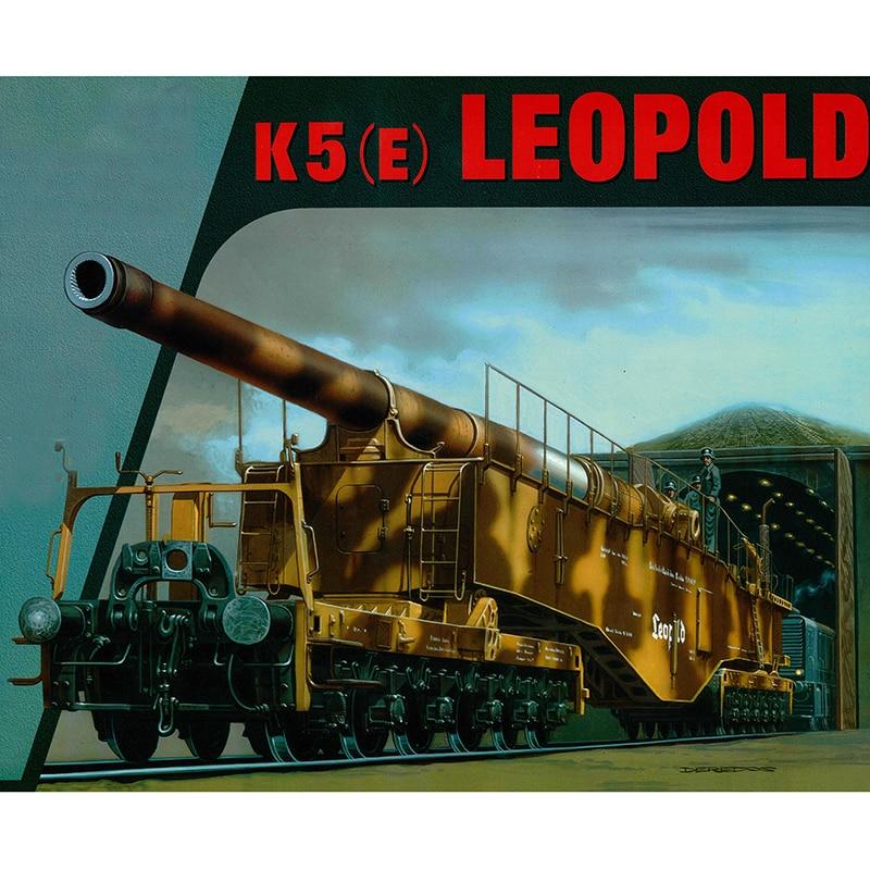 1:35 World War II German K5 train gun Leopold Aircraft Paper Model Assemble Hand Work Puzzle Game DIY Boy Toy