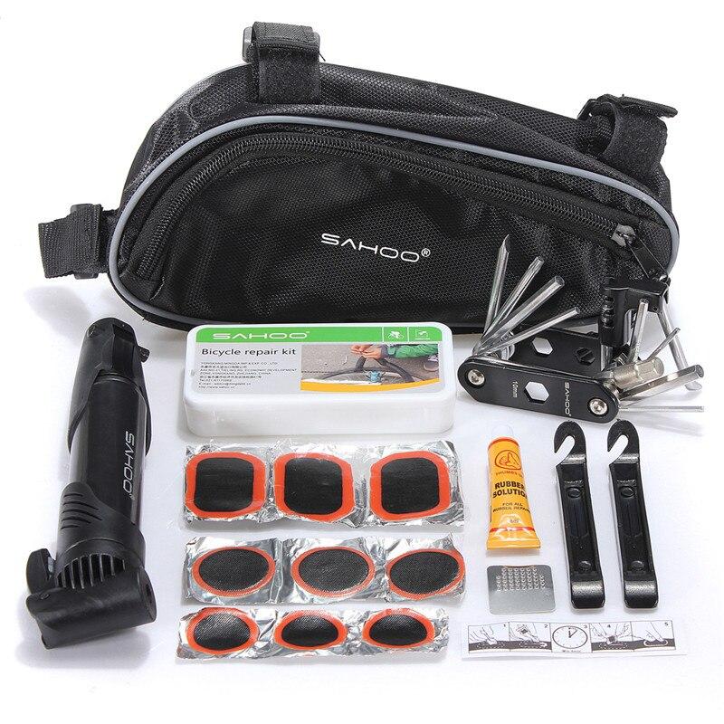 SAHOO Radfahren Fahrrad Reparatur Werkzeug Tasche Mini Pumpe Klapp 15 in 1 Fahrrad Reifen reifen Reparatur Mit Beutel Multifunktions Werkzeuge set Kit