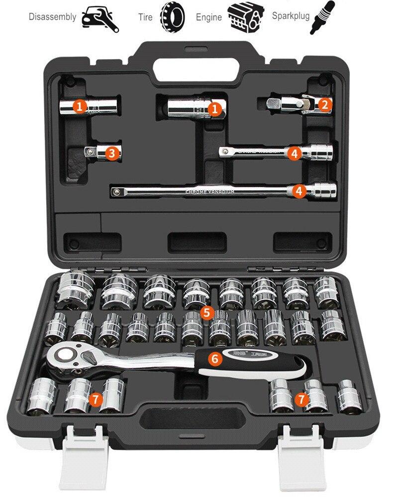 Kit de herramientas de reparación de automóviles 32 uds, juego de bujías Mirrow con Llave de trinquete de manga Hexagonal con varilla de extensión, herramientas automáticas G32