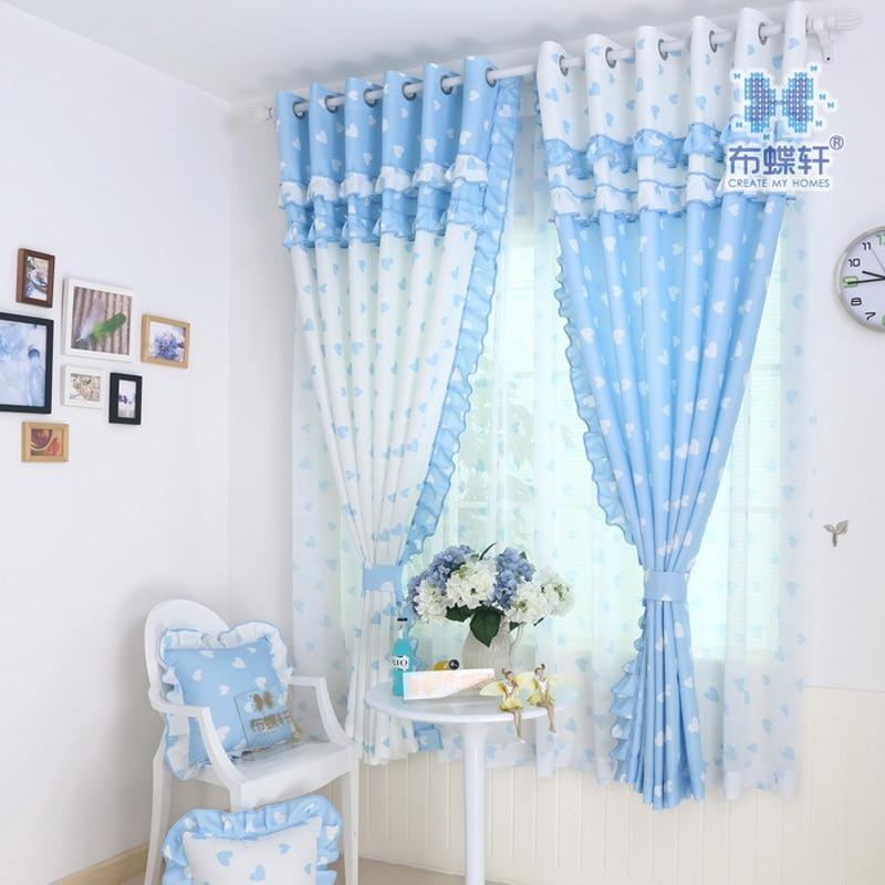 ¡Gran oferta! Estilo Pastoral coreano, bonitas y acogedoras cortinas de volantes con pintura azul en forma de corazón para habitación de niños dormitorio de niña